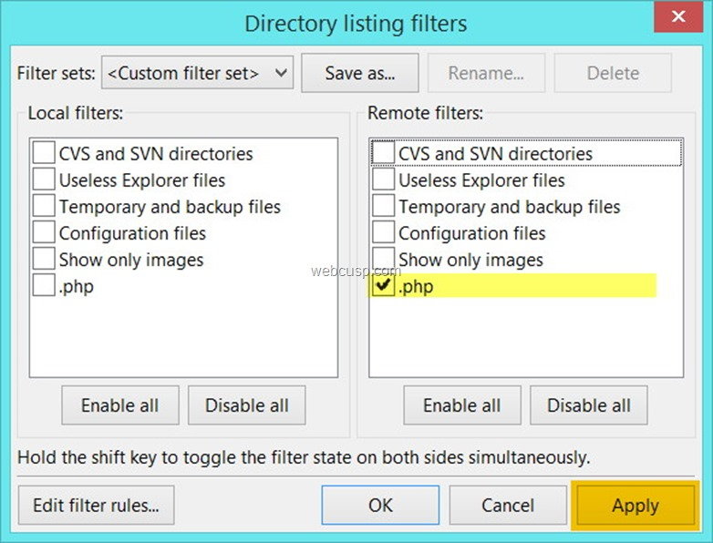 FileZilla File Filter5