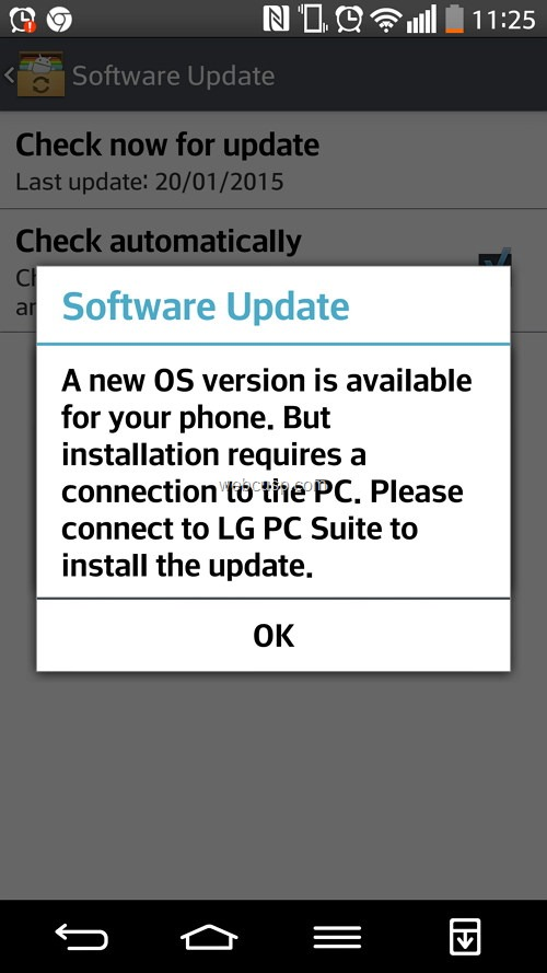 LG G2 Lollipop Update Notification