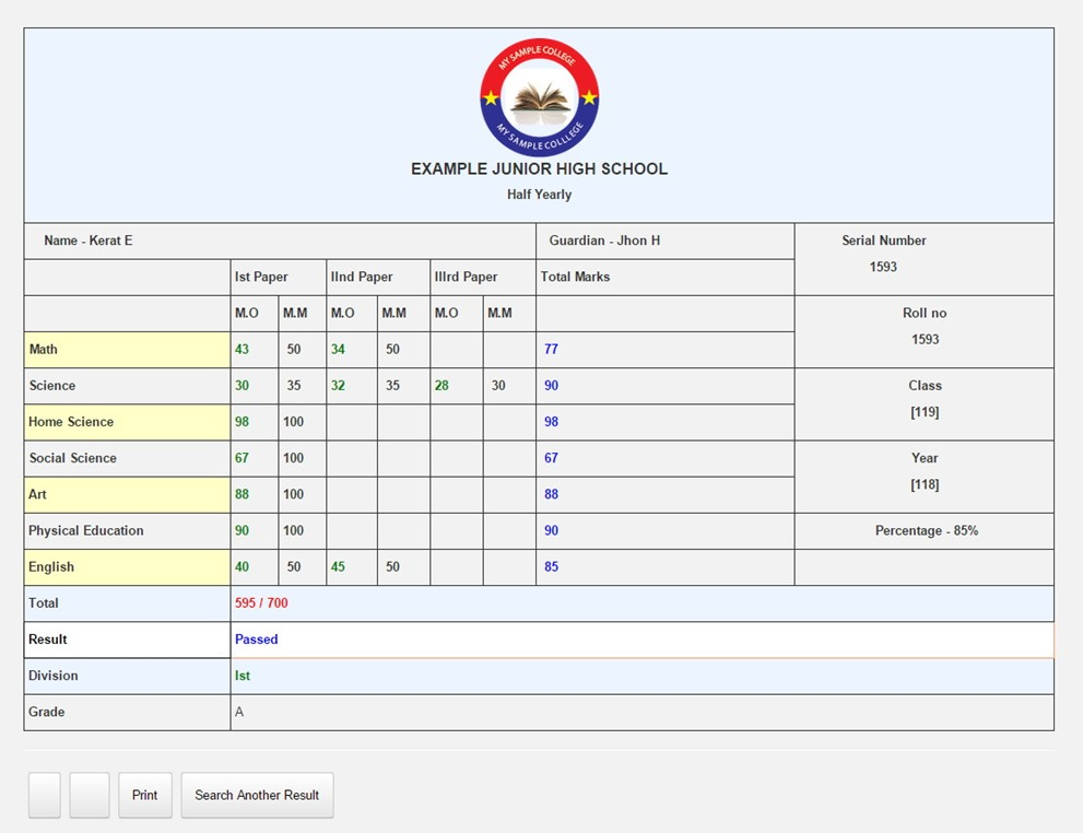 Sample Exam result display with formidable pro