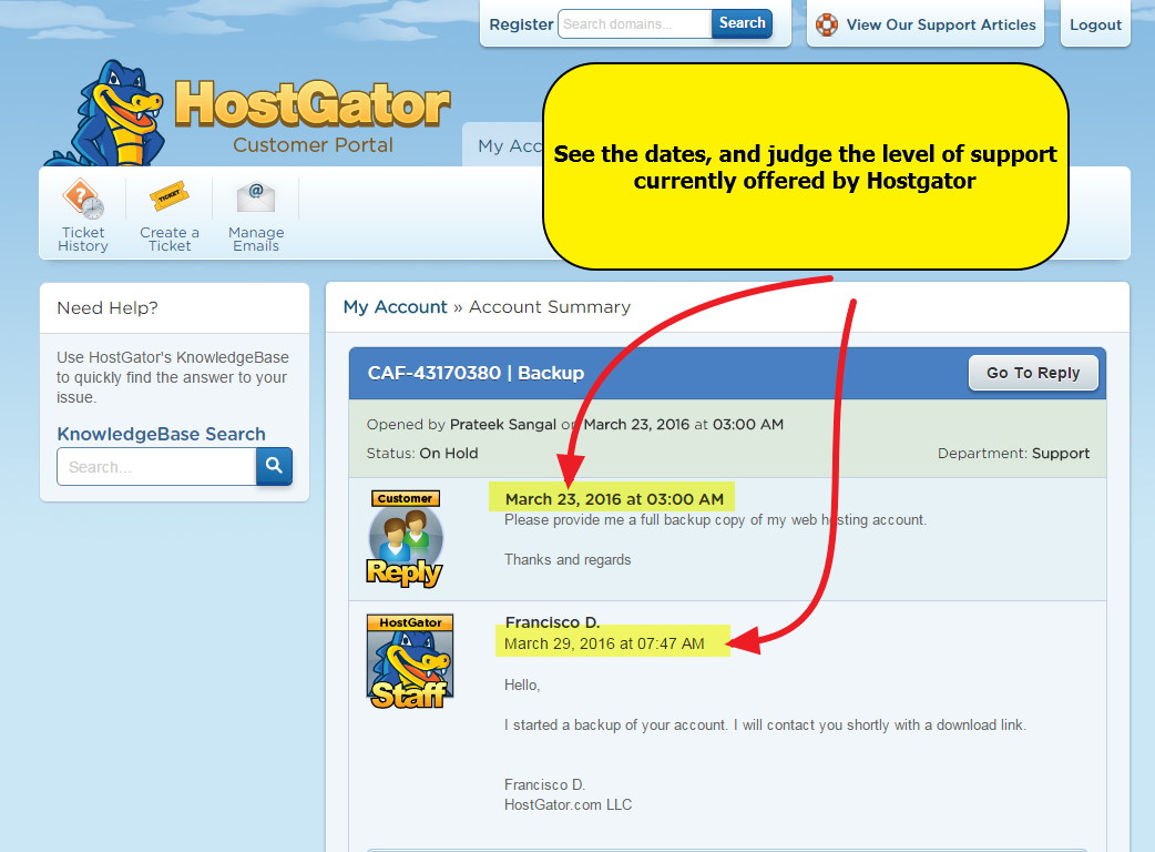 HostGator Extremly delayed support response