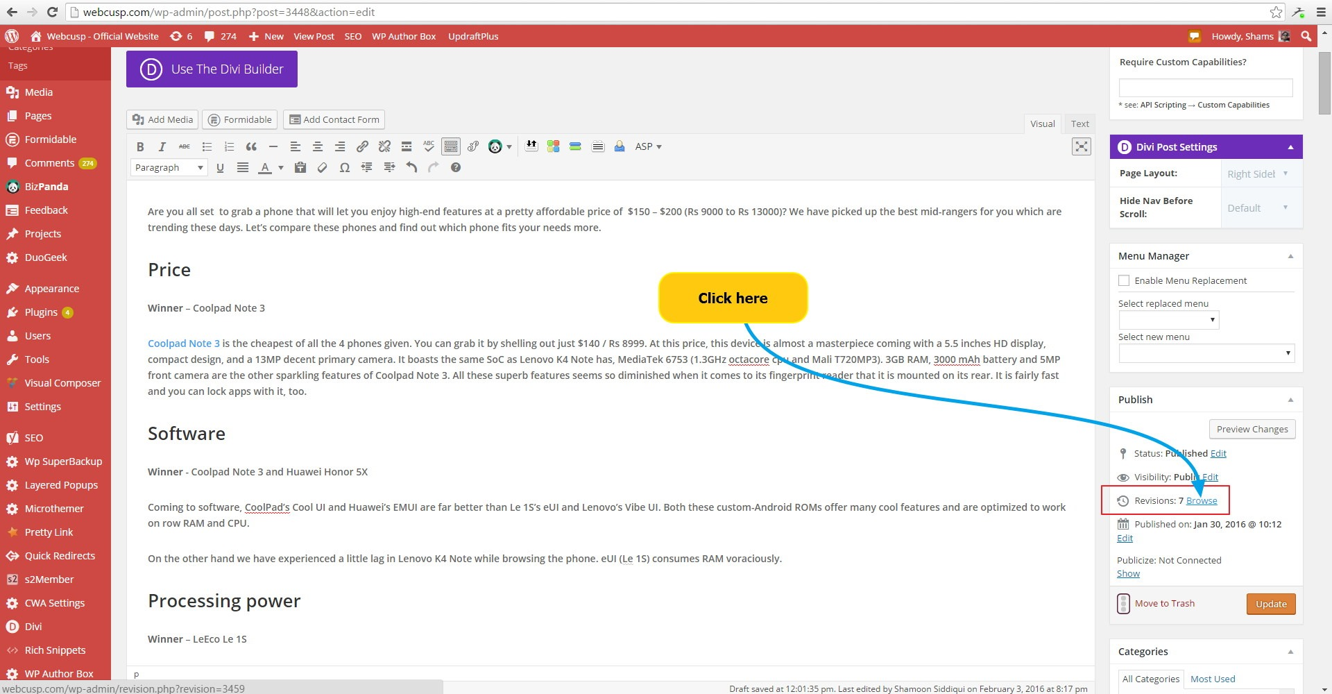 WordPress Revisions Tutorial - Browse Revisions