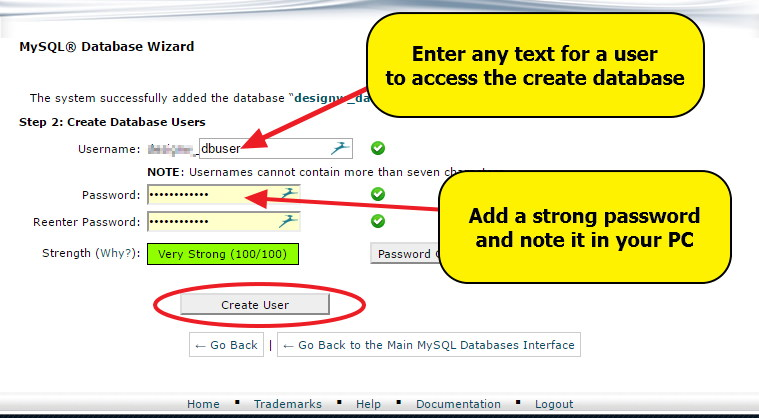 Create Database user
