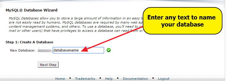 Creating database - adding database name