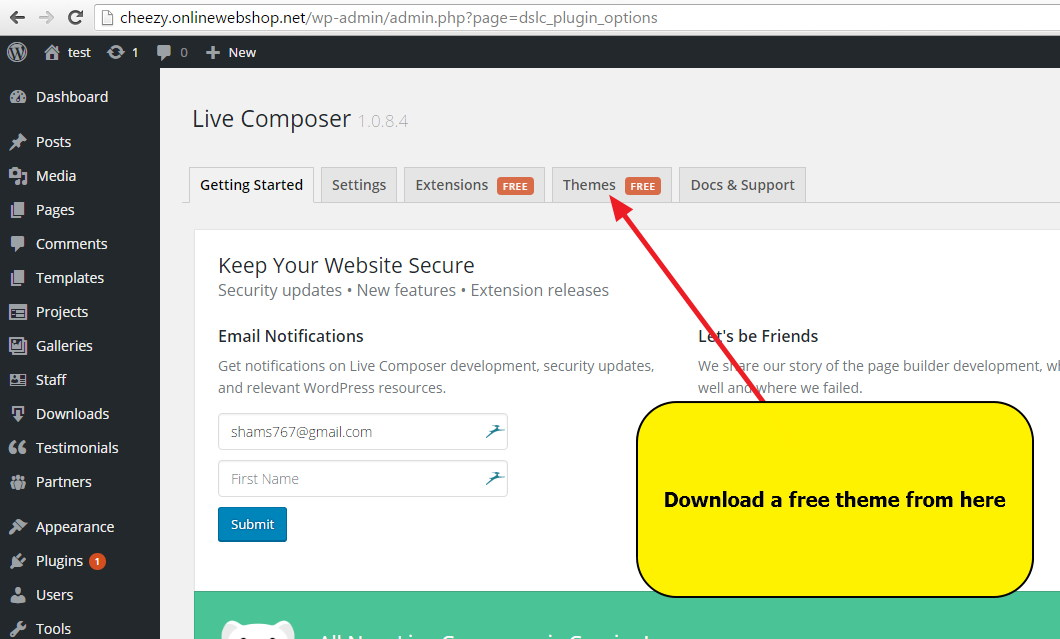 Download a free Theme by Live Composer