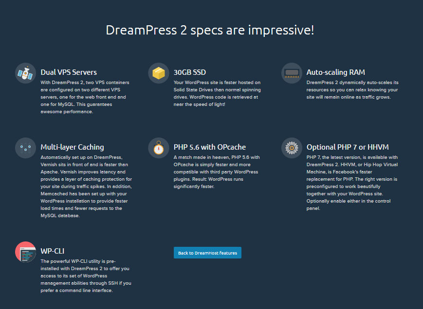 DreamPress 2 Features