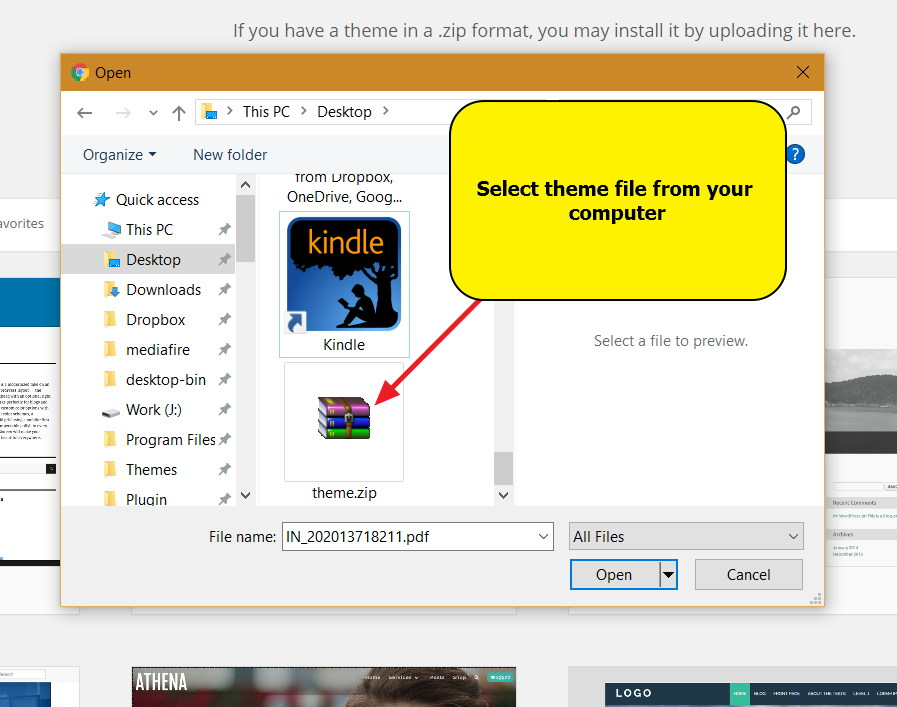 Installing WordPress theme - Select file from computer