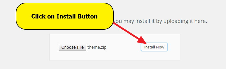 Installing theme - Click on install button