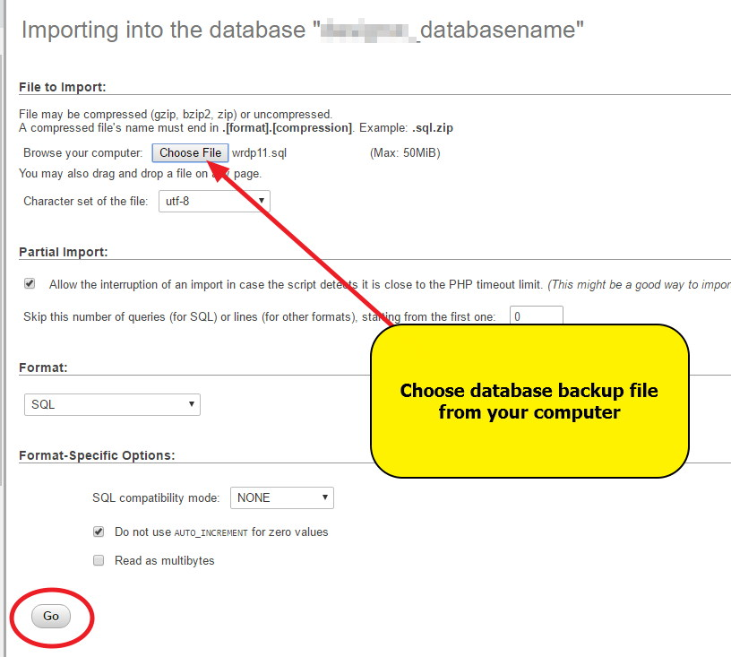 On New Hosting - phpMyAdmin - Importing database backup - final step - GO