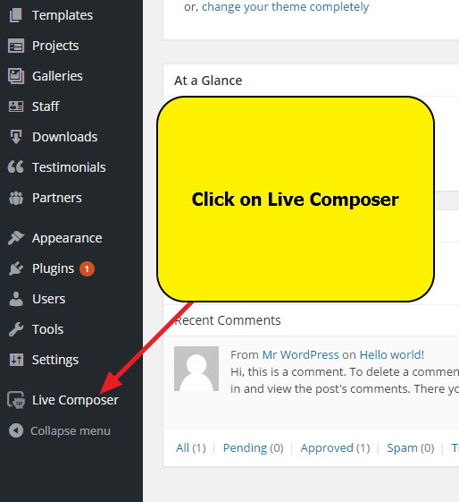 WordPress Dashboard - How to open Live Composer Page Builder Plugin