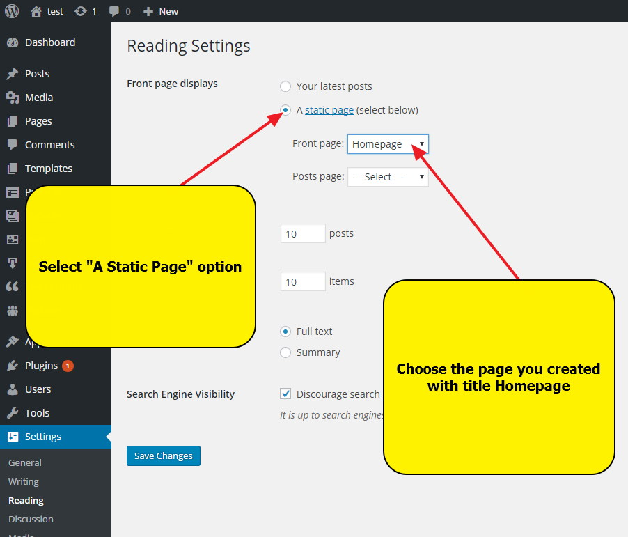 WordPress Settings - Reading Settings -- Setting up Homepage for WordPress