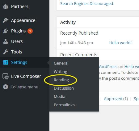 WordPress Settings -- Reading settings