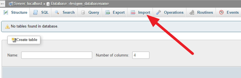 on New Hosting - phpMyAdmin - Importing database backup