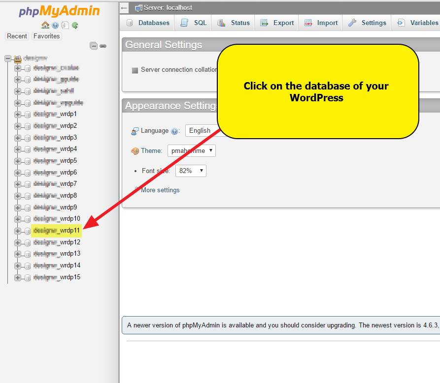 phpMyadmin - Click on the database