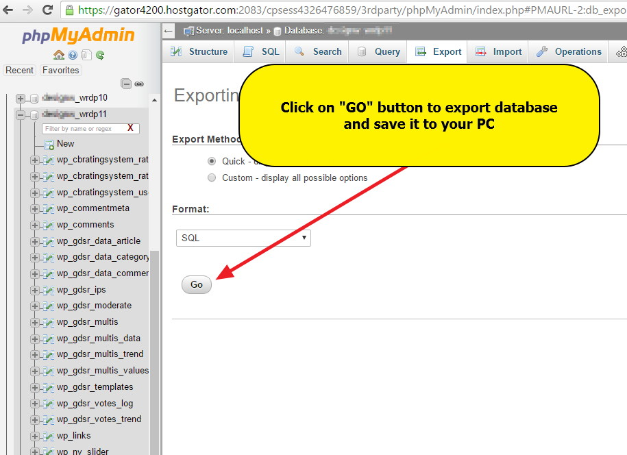 phpMyadmin - Export database - Save it to PC