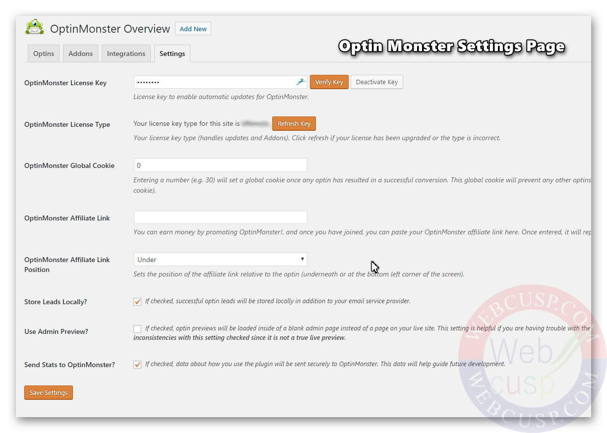 Optin Monster - Settings Page