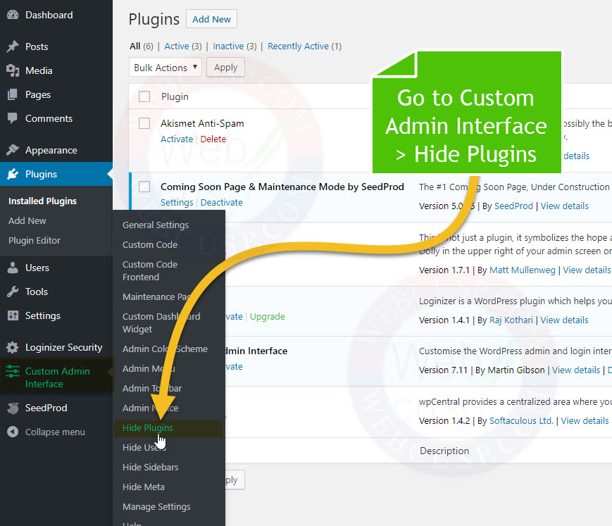 How to Hide Specific plugin from installed plugin list
